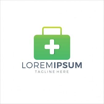 Logo medico valigia colore verde