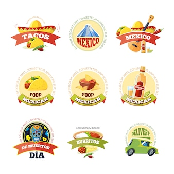 Logo messicano e set di badge.