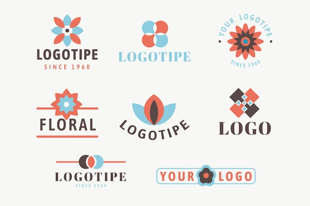 Logo minimal colorato impostato in stile retrò