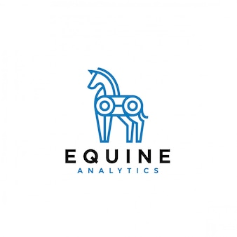 Logo minimal monoline a cavallo