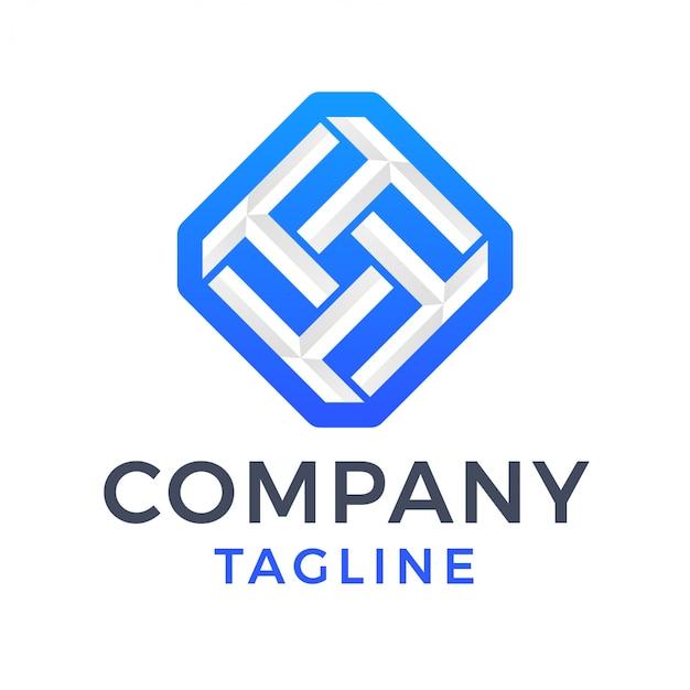 Logo moderno astratto della lettera t del diamante 3d