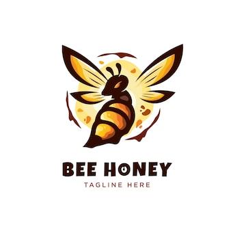Logo moderno del miele dell'ape dettagliato di minimalismo
