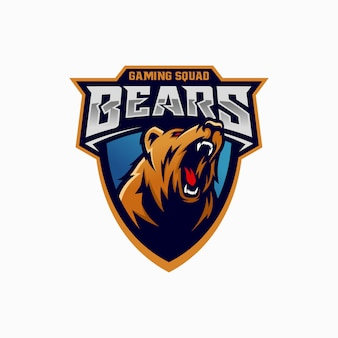Logo moderno dell'orso grizzly professionale per una squadra sportiva