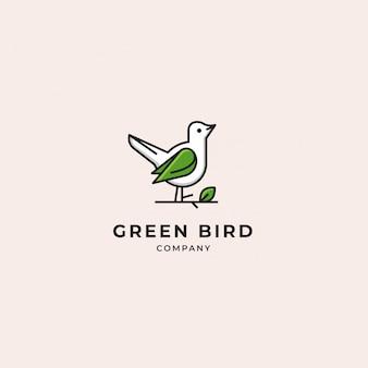 Logo moderno dell'uccello verde e bianco con il ramoscello e la foglia