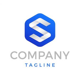 Logo moderno lettera esagonale s