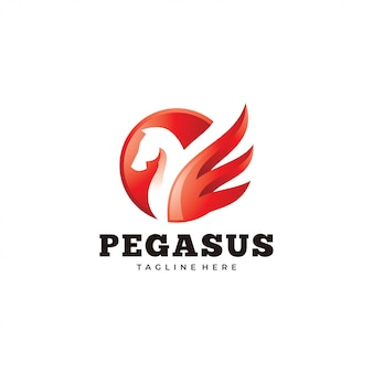 Logo moderno pegasus, cavallo e icona ala