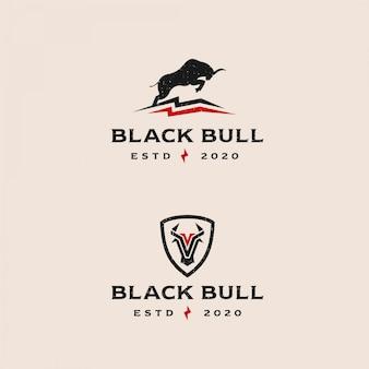 Logo moderno retrò illustrazione toro nero
