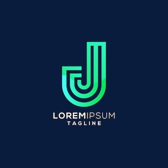 Logo monogramma lettera colorata j iniziale