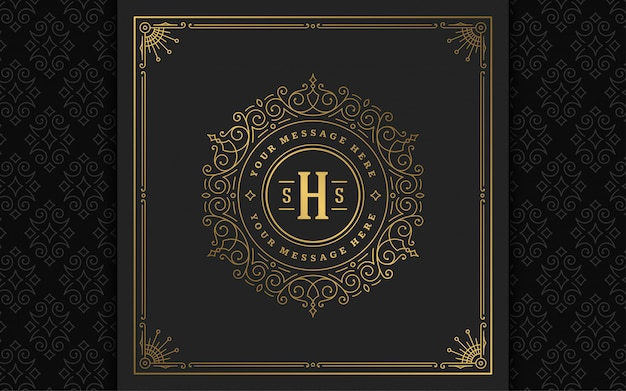 Logo monogramma vintage elegante svolazzi linea ornamenti d'arte