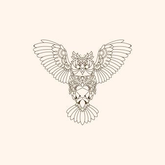 Logo monoline decorazione gufo