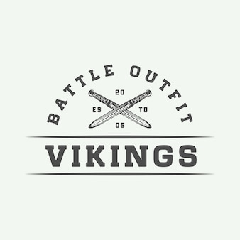 Logo motivazionale vintage vikings