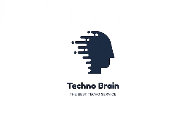Logo multimediale di testa umana e chip techno brain