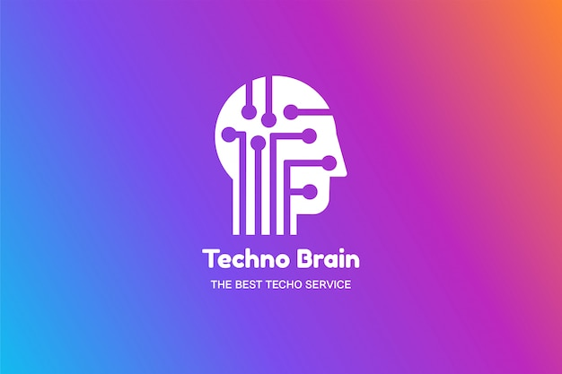 Logo multimediale testa uomo e chip techno brain