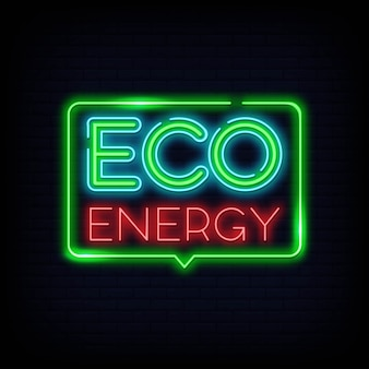Logo neon eco energy. insegna al neon a energia verde