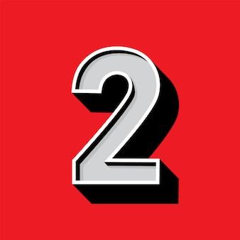 Logo numero 2 su sfondo rosso