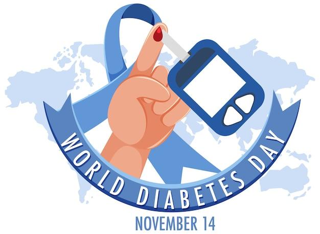 Logo o banner della giornata mondiale del diabete con sangue su un dito