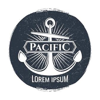 Logo o etichetta grunge con ancoraggio