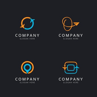 Logo o iniziale con elementi da viaggio in colore arancione e blu