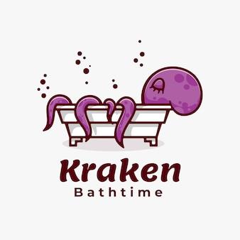 Logo octopus bath time semplice stile mascotte.