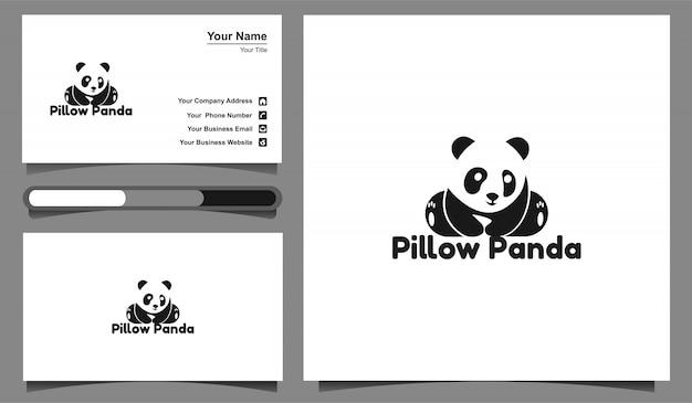Logo panda del cuscino dell'illustrazione e modello di progettazione di biglietto da visita.