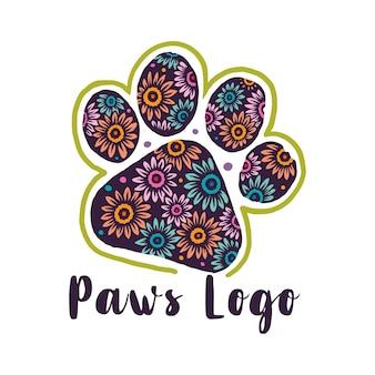 Logo paws pattern di fiori