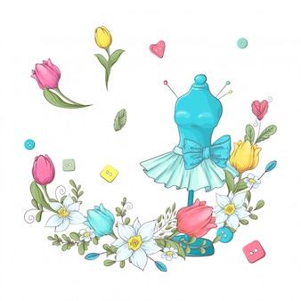 Logo per cucito a maglia nello stile del disegno a mano. illustrazione