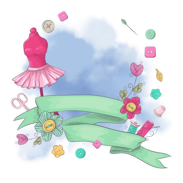 Logo per cucito a maglia nello stile del disegno a mano.