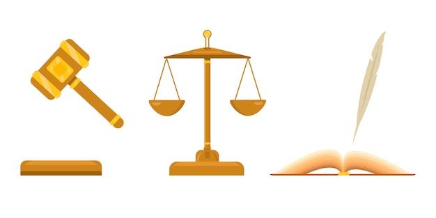 Logo per studio legale. bilancia della giustizia e della giustizia. libro aperto con penna, piuma. martello giudiziario con elementi dorati.