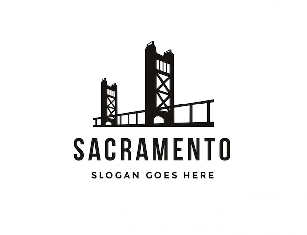 Logo piatto minimalista sacramento bridge