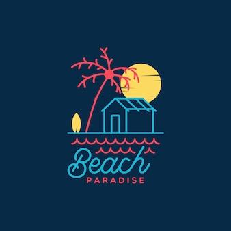 Logo piatto vintage minimalista beach paradise