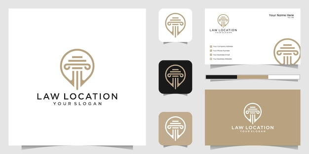 Logo posizione avvocato, avvocato, giustizia, logo pin, logo legge e modello di progettazione biglietto da visita