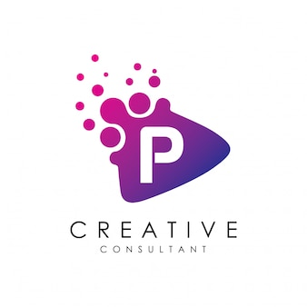 Logo punteggiato della lettera p del gioco