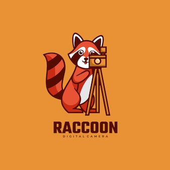 Logo raccoon semplice stile mascotte.