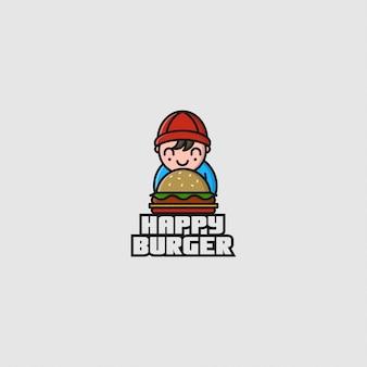 Logo ragazzino e hamburger