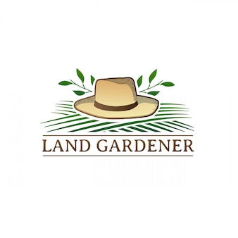 Logo retrò di colore vintage per studio da giardino. badge con attrezzi agricoli. etichetta con carriola ed erba.