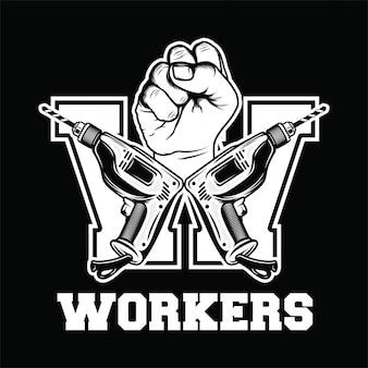 Logo retrò di lavoratori con mano, trapano lettera w, festa del lavoro, sfondo nero