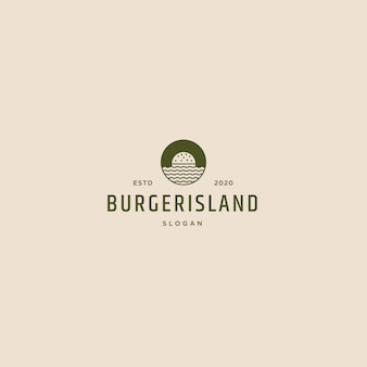 Logo retrò vintage burger island