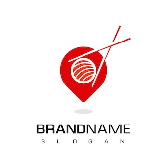 Logo ristorante giapponese, icona di luogo di sushi con puntatore e simbolo di sushi