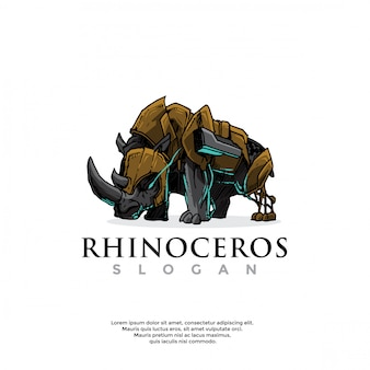Logo robot rinoceronte disegnato a mano
