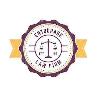 Logo rotondo d'annata dello studio legale, segno dello studio legale, distintivo d'annata dello studio legale su bianco, illustrazione