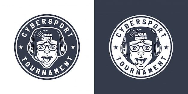 Logo rotondo da gioco monocromatico vintage