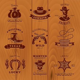 Logo sceriffo vintage scuro con cowboy e descrizioni di sceriffo