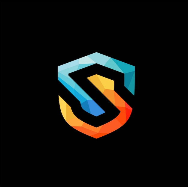 Logo scudo lettera low poly