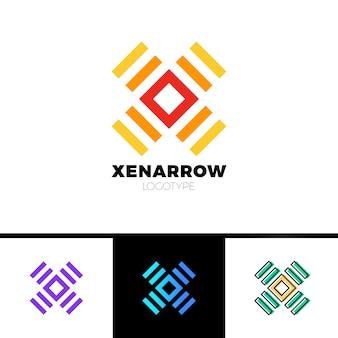 Logo semplice della lettera x. logotipo quadrato e lineare