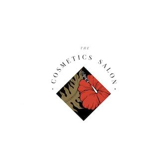 Logo semplice. logotipo inciso. salone di bellezza botanico e simbolo cosmetico organico con fiori di ibisco. foglie di palma tropicali.