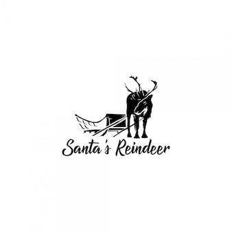 Logo silhouette di renne di babbo natale