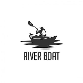 Logo silhouette uomo fiume barca