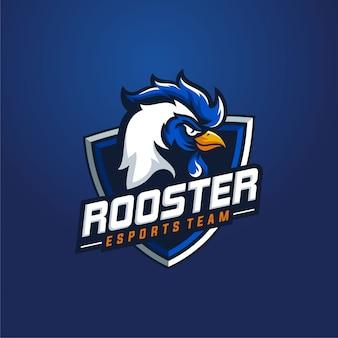 Logo sport mascotte gallo. mascotte testa di pollo gallo