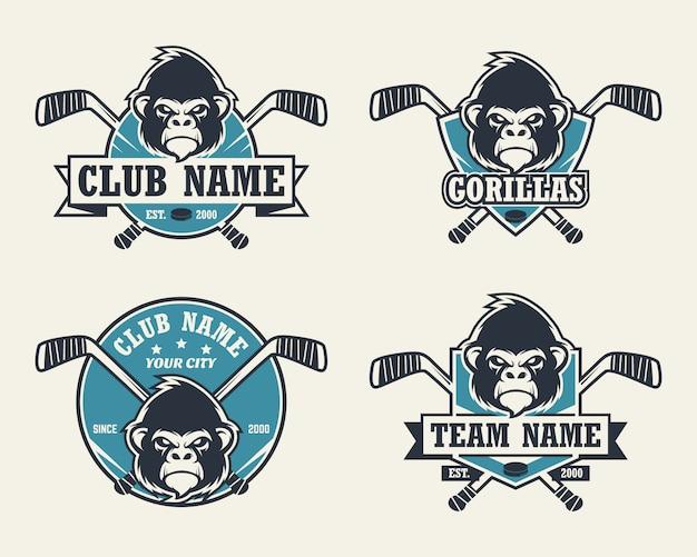 Logo sport testa di gorilla. set di loghi di hockey.