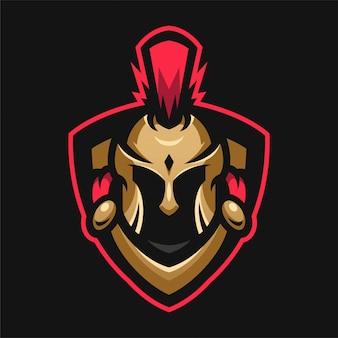 Logo sport testa di mascot spartan